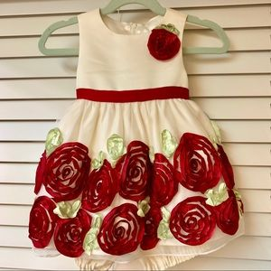 Beautiful red ribbon princess dress
